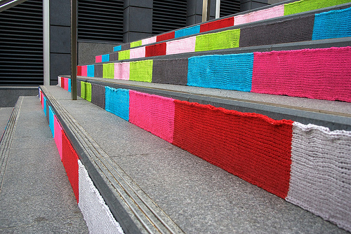 Knit graffiti in Sussex Lane by Magda Sayeg