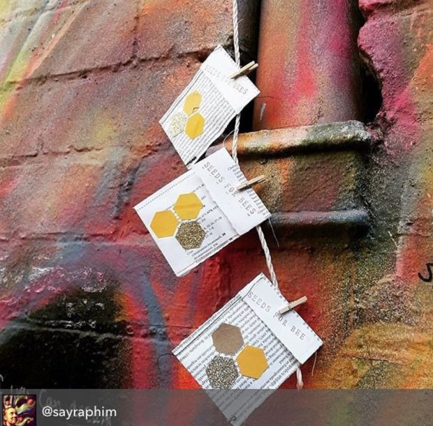 Seed drop in Hosier Lane (street art precinct)  in Melbourne by @sayraphim