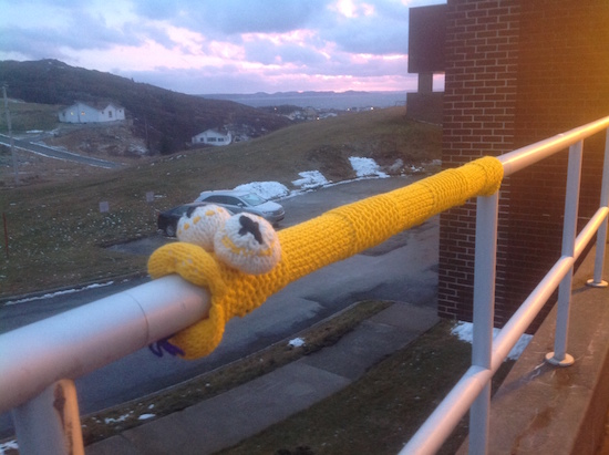 The Deadly Pipe Sucker is the only snake in Newfoundland was my first 3D Yarnbomb.