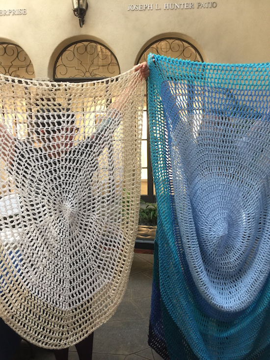 Alyssa Arney (left) and Liz Flynn (right) with in-progress pieces for There Is A River Here. Courtesy Carolyn Schutten.