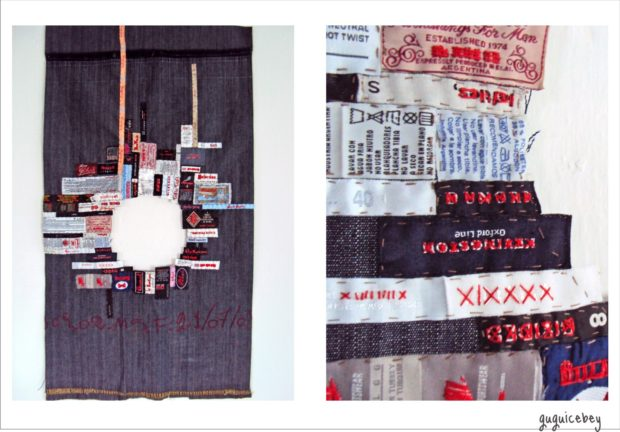 Vacío Emocional (in English: Emotional emptiness) upcycled denim textile, repurposed garment labels, thread